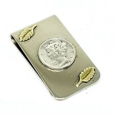 Handmade Vintage 1944 Liberty Dime Sterling Silver Money Clip with Gold Leaves