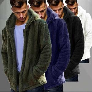 Mens Warm Teddy Bear Jacket Hoodie Fluffy Comfy Cardigan Hooded Coat Tops Jumper