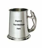NEW Personalised 1 Pint Fox Handle Polished Pewter Tankard Any Message Engraved