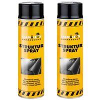 Strukturspray Schwarz 2 x 500ml Strukturlack Kunststoff Stoßstangenspray Plastik
