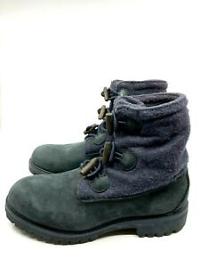 Timberland Navy Suede Wool Boots Round Toe Rubber Sole Toggle Closure Size 7M