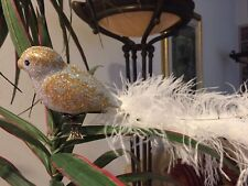 "Bird Feather Tail Clip Ornament Silver & Gold 15.5 "" Hand Blown Germany Neiman's"
