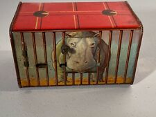 1930's European Tin Lithographed Hippo Zoo Cage Coin Mechanical Bank Toy