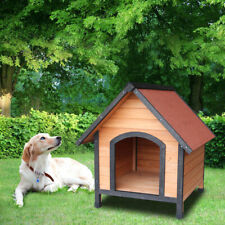 "31""Small Dog House Pet Outdoor Bed Wood Shelter Home Weather Kennel Orange Red"