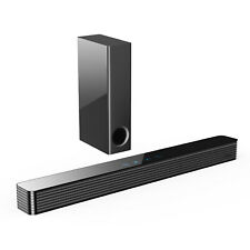 Norcent Tv Sound Bar with Wired Subwoofer 120W 2.1 Channel Bluetooth 5.0 Speaker