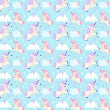 Printed Bow Fabric A4 Canvas Unicorns and Clouds on Blue U6 glitter bows