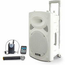 PORT-15VHF Mobiler Akku Lautsprecher Bluetooth USB/SD + Funk Headset & Mikrofon