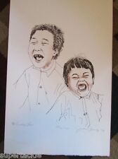 JACKSON BEARDY 1944 - 1984 Woodlands artist signed & numbered LAUGHING BOYS
