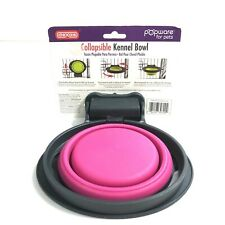 Dexas Popware Collapsible Bowl Kennel Round Small Pink 1 Cup 8 oz for Pets