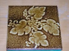 Vintage Amber Color Grapes & Vines Tile Turned Trivet 6x6'
