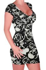 Womens Polka Dot Skull Print Scoop Neck Cap Sleeve Bodycon Stretch Mini Dress