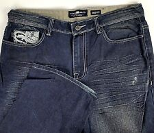 Ecko Unltd Mens Jeans Size 36 x 34 Baggie Fit Some Distress Blue Cotton