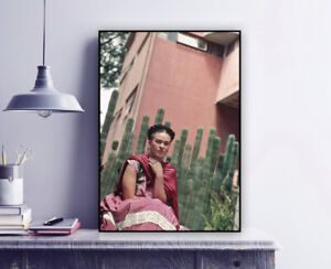 Frida Kahlo in front of the Cactus Organ Fence, 1938 - Vintage Photo Print