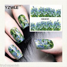 Nail Art Water Decals Stickers Wraps Pretty Summer Blue Flowers Gel Polish 8107