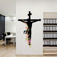 Jesus Christian Cross With Flowers Bedroom Decor Wall Art Decor Mural Poster