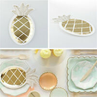 8pc Golden Foil Disposable Pine  Paper Plates Wedding Birthday Party Decor))