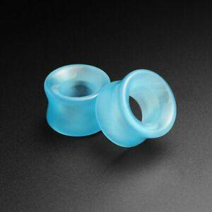 Glass Ear Stretching Tunnels | Aqua Cat's Eye Glass Double Flare Concave Tunnel