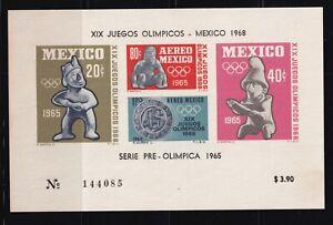 mae93  Mexico 1965 XIX Olympic Games sc#C310a MNH prehispanic sculpture