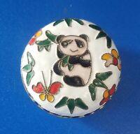 Vintage Panda Theme Ceramic Jewelry Trinket Box