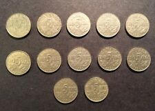 LOT OF 12 pcs CANADIAN NICKELS 5 cents 1922, 1924, 1927-1936 GEORGE V Canada
