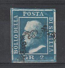 FRANCOBOLLI 1859 SICILIA 2 GR. AZZURRO VIVO III° TAVOLA POSIZIONE 63 D/1579