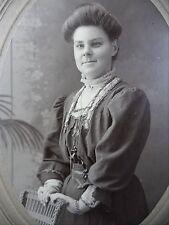 Antique B&W Portrait Lady Wicker Chair Poufy Hair Victorian Dress