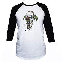 Evil Clown Skull T shirt Horror Tattoo Unisex 3/4 Sleeve Top Size S M L XL