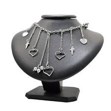 Collana rolo' cm 40 in argento 925 rodiato con cuori e spade pendenti