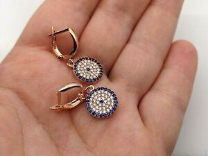 Handmade Women's 925 Sterling Silver Rose Gold Evil Eye Earrings