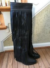 Ivy Kirzhner Wild Black Leather Fringe Over The Knee Boots 8.5 New