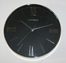Circular Black & Chrome Contemporary Wall Clock (30cm)