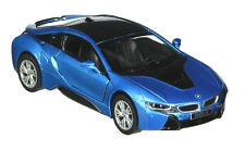 Kinsmart 1:36 Scale Bmw i8 2 Doors Coupe Diecast Toy Car BLUE Pull back and Go