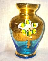 "Bohemian Gold & Enamel Aqua Glass Vase 4 1/2"" Tall"