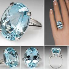 925 Silver Large New Fashion Oval Cut Aquamarine Ring Women Jewelry Gift SZ 5-12