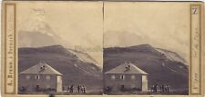 Col de Voza Saint-Gervais Photo A. Braun Stereo Vintage Albumine ca 1865 -abimée