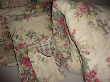 CHAPS WAINSCOTT REVERSIBLE GREEN TAN FLORAL (4PC) FULL/QUEEN COMFORTER SET