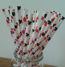 Casino Playing Cards Paper Straw, hearts, clubs, diamonds, spades ~  Party