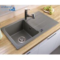 """LINDBERGH® Granit Spüle Grau """"MEG"""" Siphon Einbauspüle Küchenspüle Spülbecken"""