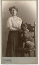 BOXER DOG with crop ears on chair and lady in fine fashion antique CDV photo