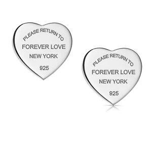 Return To New York Heart Earrings Studs Titanium Steel Forever Love