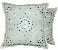 2pc White decorative Throw Pillow, Indian Mirror Work Pillow, Gypsy Pillow