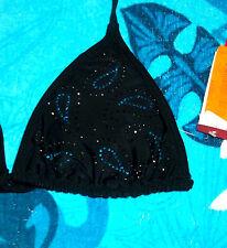 BLACK TURQ BLUE BLING BONGO BIKINI SWIMSUIT SWIM SUIT TOP SIZE 3 - 5 SMALL NWT