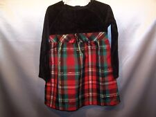 Girls christmas Holiday Dress Size 5T  Red Plaid Skirt