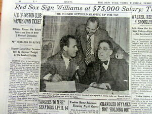 1947 NY Times newspaper BOSTON RED SOX TED WILLIAMS SIGNS $75K baseball CONTRACT