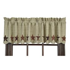 ABILENE STAR Window Valance Applique Rustic Country Homespun Dark Cream Lined