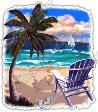 "Beach Chair Flip Flops Paradise Tropical Car Bumper Vinyl Sticker Decal 4""X5"""