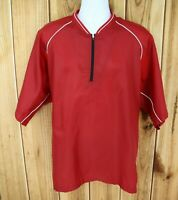 Mizuno Windbreaker Jacket Mens Size XL Red 1/4 Zip 100% Polyester Pullover NICE!