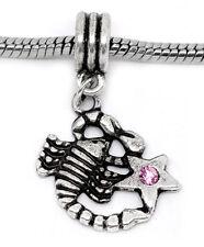 Scorpio Scorpion Pink Rhinestone Zodiac Dangle Charm for European Slide Bracelet