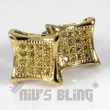 18k Gold Canary ICED OUT Micro pave Stud Square Hip Hop Bling AAA CZ Earring 5C
