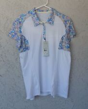 NWT $70 ADIDAS Womens Cap-Sleeve Golf Top Sz Large Polyester White Floral